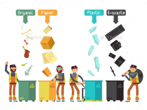 Garbage Waste Segregation for Recycling Vector - Miscellaneous Vectors