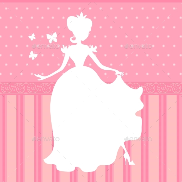 GraphicRiver Retro Vector Pink Background with Princess 20302753