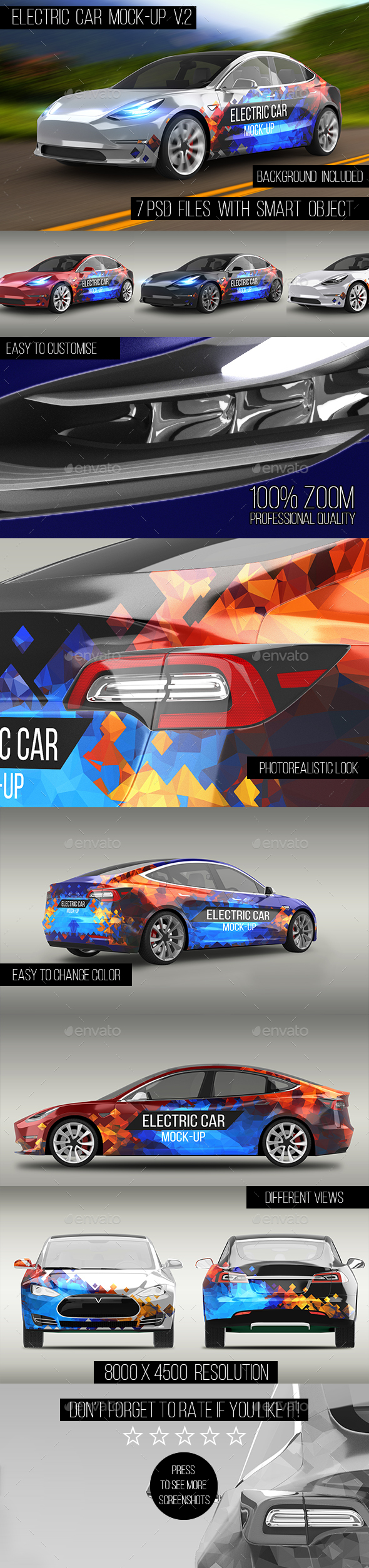 Electric Car Mock-Up V.2 - Vehicle Wraps Print