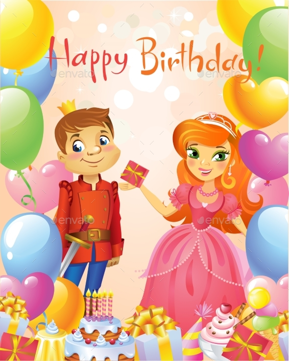 GraphicRiver Happy Birthday Princess and Prince Greeting Card 20302906