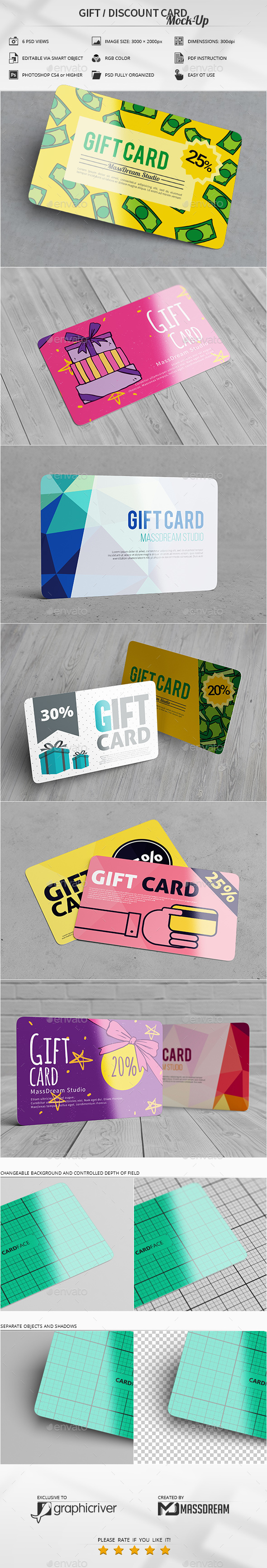 Gift / Discount Card Mock-Up - Business Cards Print