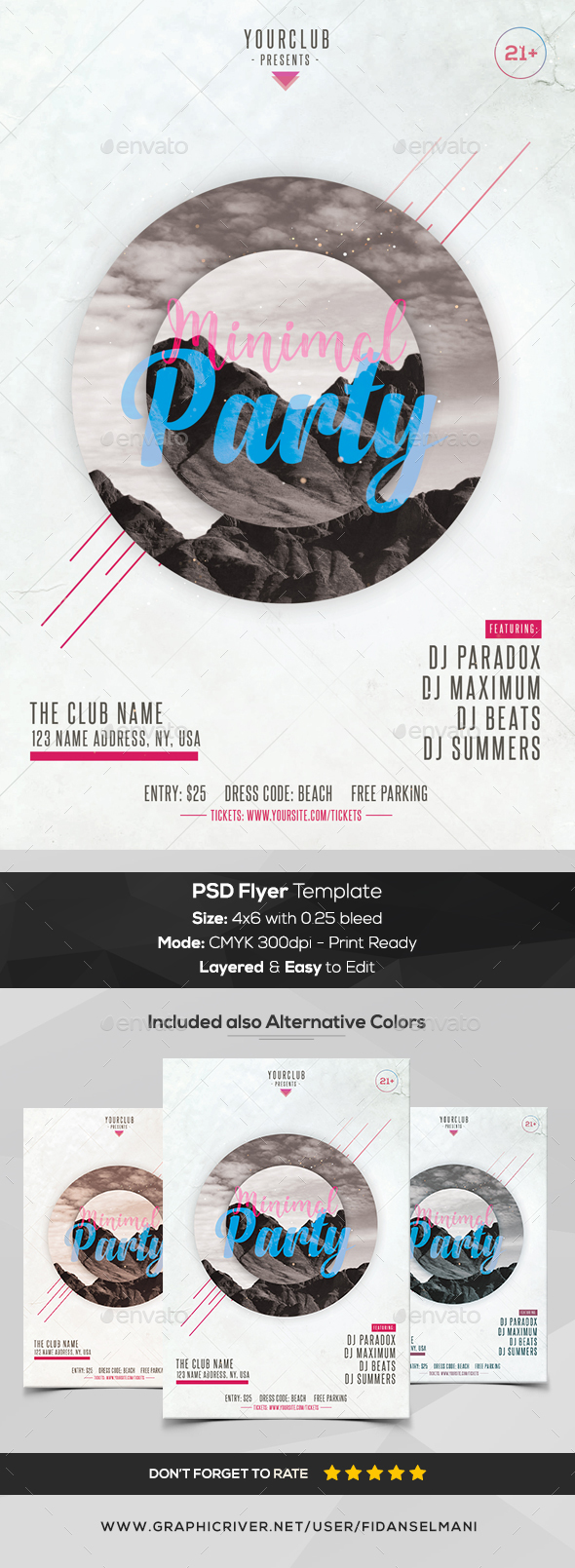 Minimal Party - PSD Flyer Template - Flyers Print Templates