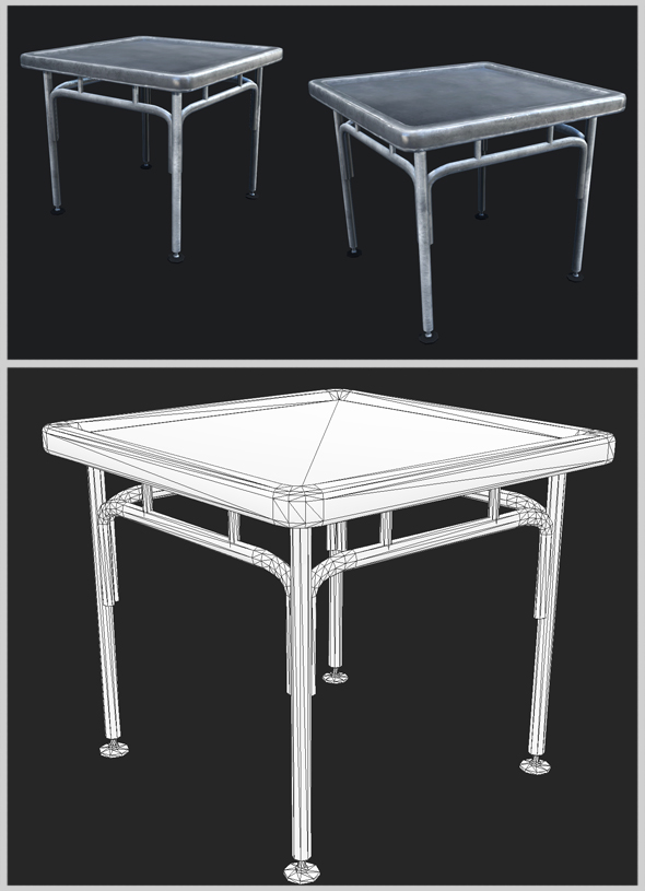 Small Industrial Steel Table - 3DOcean Item for Sale