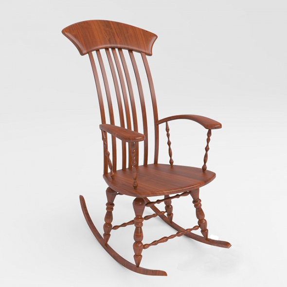 3DOcean Vray Ready Wooden Rocking Chair 20303081