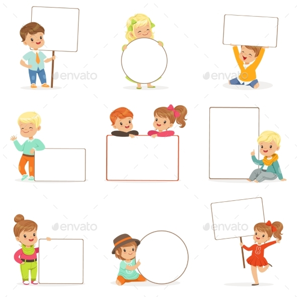 Kids Holding White Blank Boards in Different - People Characters