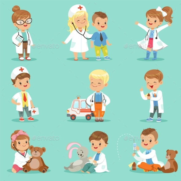 Kids Playing Doctor Set.  - People Characters