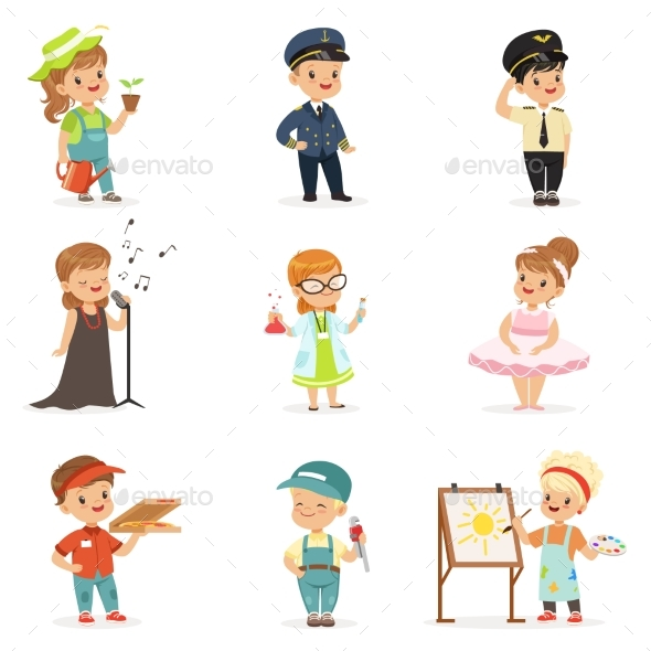 Kids in Various Professions Set. - People Characters