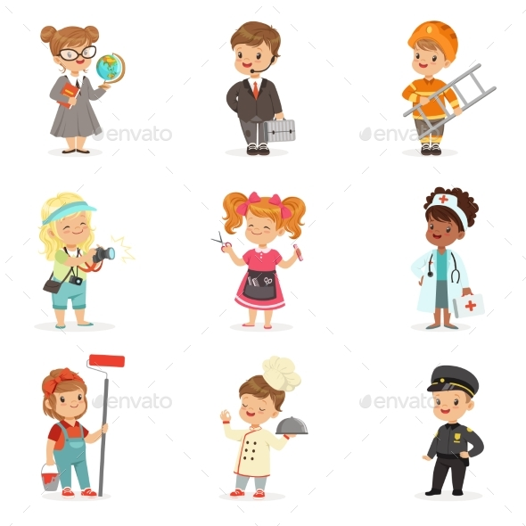 Set of Cartoon Professions for Kids. - People Characters