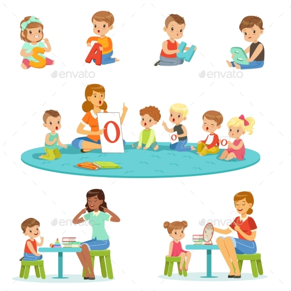 Smiling Little Boys and Girls Sitting on the Floor - Miscellaneous Vectors