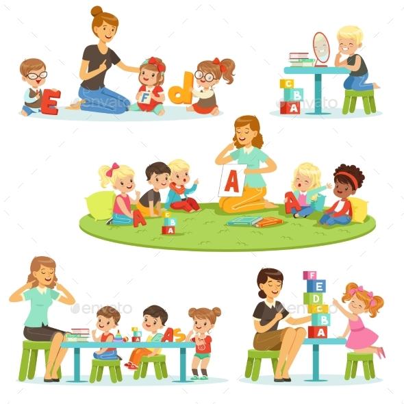 Teacher Explaining Alphabet To Children - Miscellaneous Vectors