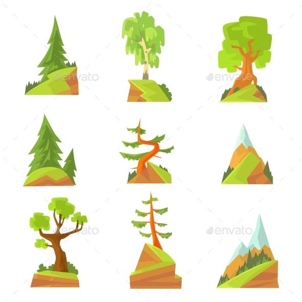 Coniferous and Deciduous Trees Set. Natural - Landscapes Nature