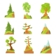 Coniferous and Deciduous Trees Set. Natural