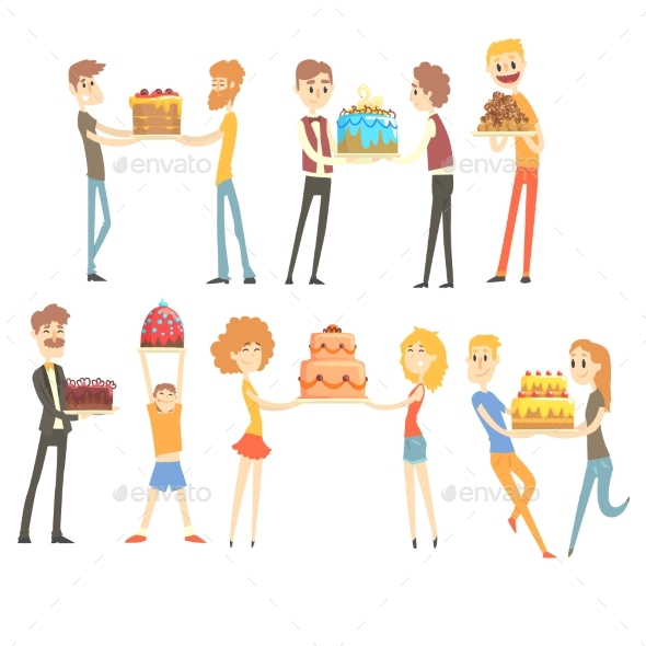 Set of Happy and Loving People Celebrating - People Characters