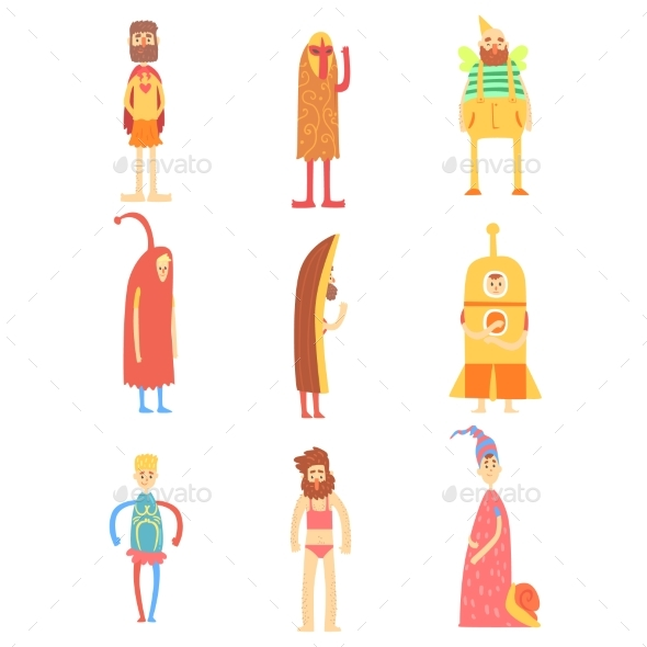 Set of People in Funny Costumes, Colorful