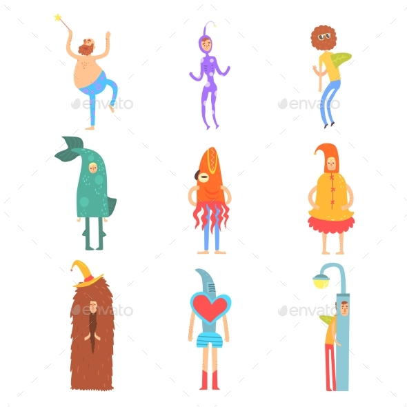 Set of People in Funny Costumes, Man Characters - People Characters