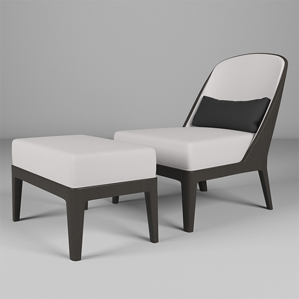 Vray Ready Wooden Chair with Longue - 3DOcean Item for Sale