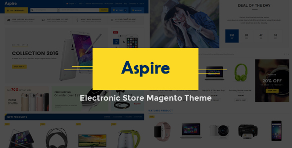 Aspire Electronic Store Responsive Magento Theme By
