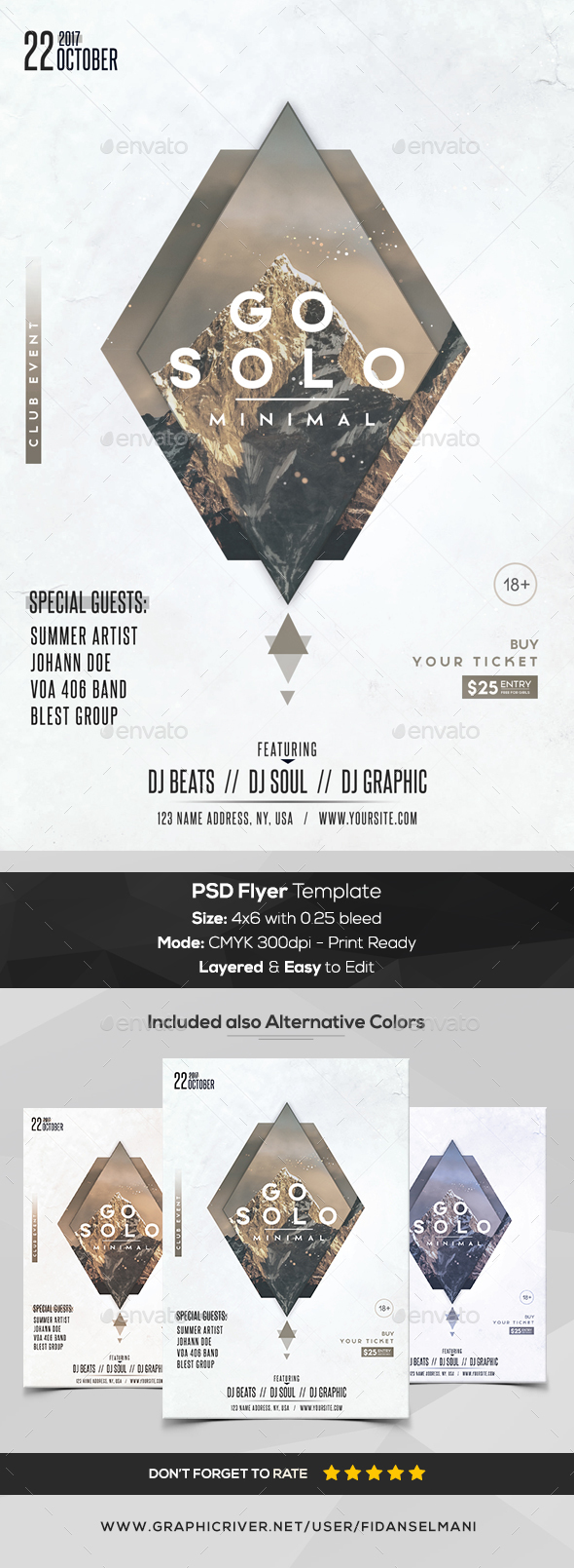 Go Solo - Minimal PSD Flyer Template - Flyers Print Templates