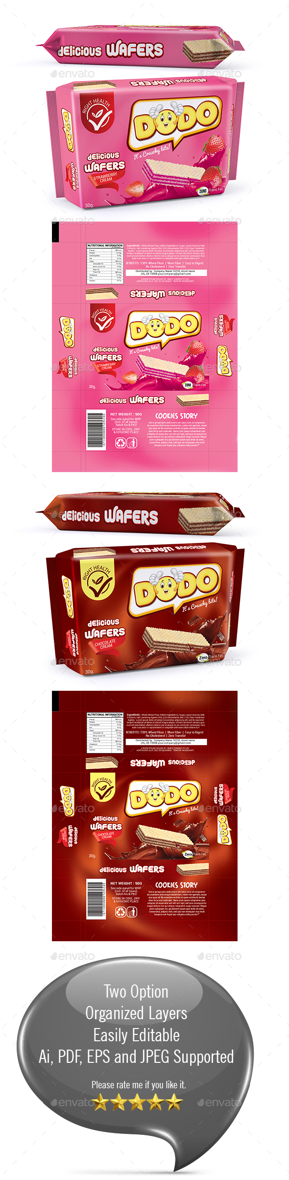 Wafers Biscuits Packaging Template - Packaging Print Templates