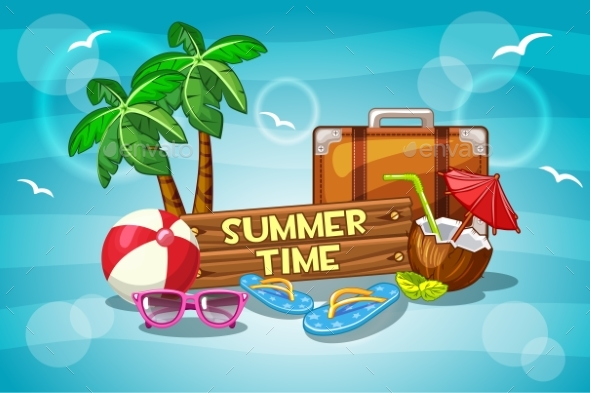Illustration Summer Time with Cartoon Objects - Landscapes Nature