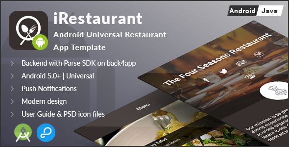 iRestaurant | Android Universal Restaurant App Template
