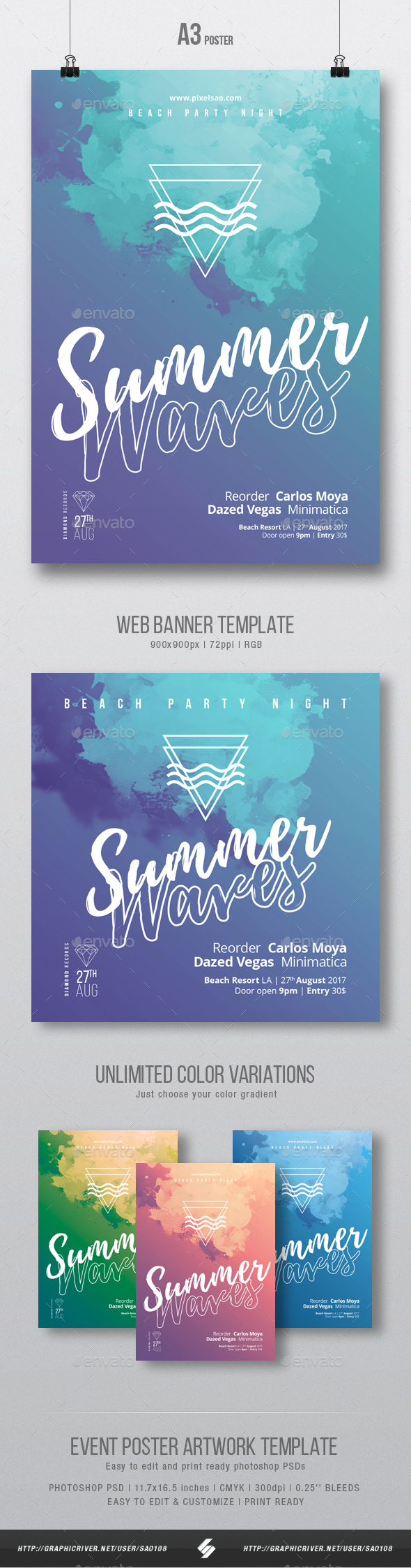 Summer Waves - Party Flyer / Poster Artwork Template A3 - Clubs & Parties Events