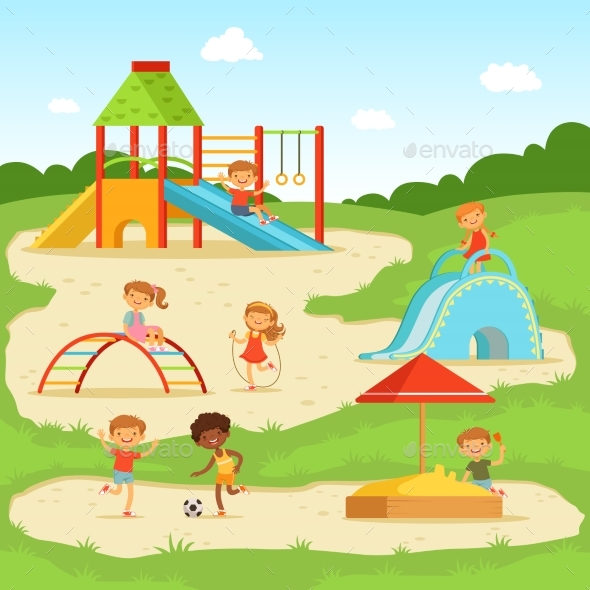 Children at Summer Playground - People Characters