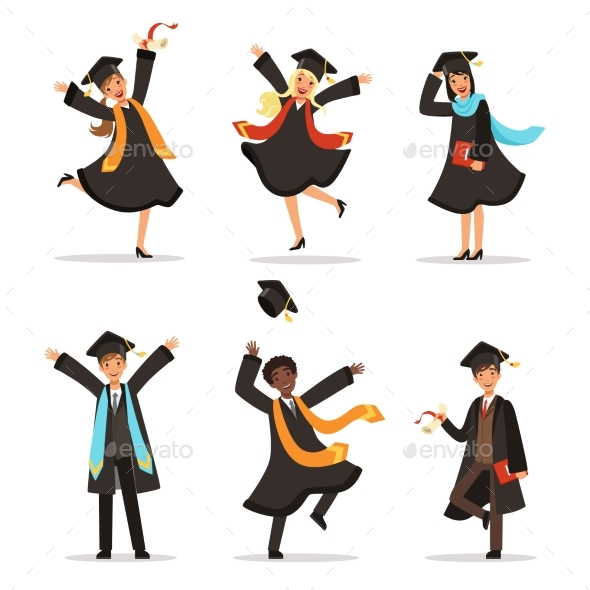 Graduation of Students at Different Nations - People Characters