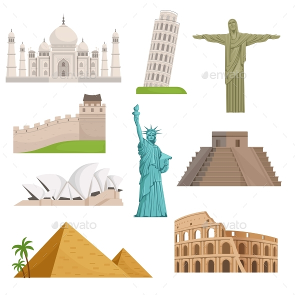 Different Historical Famous Landmarks. - Buildings Objects