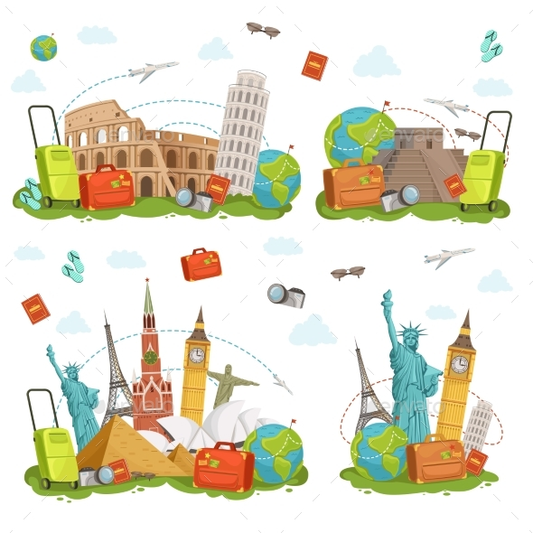 GraphicRiver Travel Icons and Different Landmarks 20304061