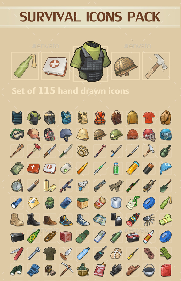 Survival Icons Pack - Miscellaneous Game Assets