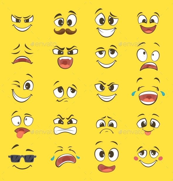 Cartoon Emotions with Faces - Miscellaneous Vectors