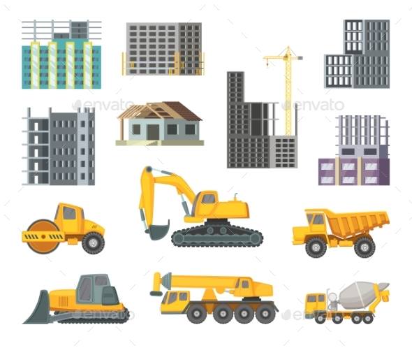 Yellow Machines and Modern Buildings - Man-made Objects Objects