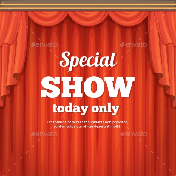 Poster with Theater Stage and Red Curtain - Miscellaneous Vectors