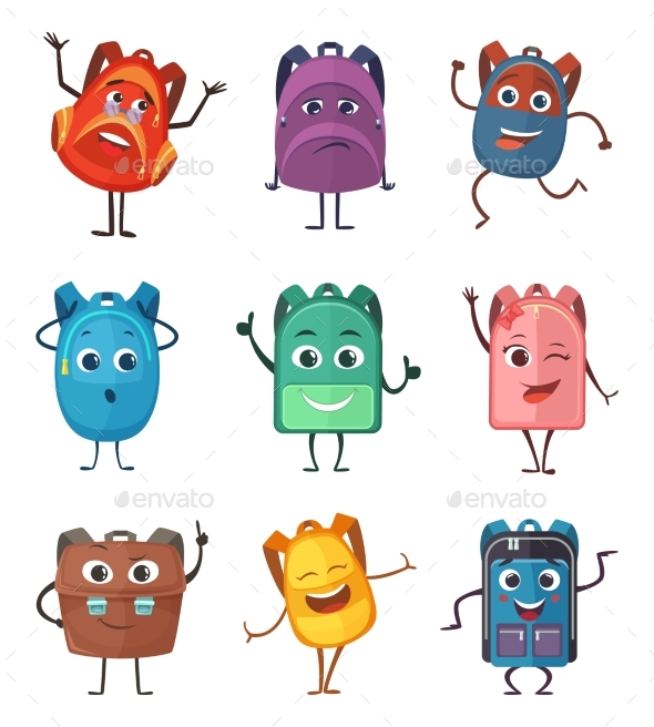Schoolbags Characters with Different Emotions - Objects Vectors