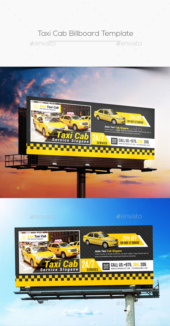 taxi cab billboard template by designsoul14 graphicriver. Black Bedroom Furniture Sets. Home Design Ideas
