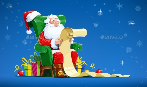 Santa Claus Sits in Armchair and Reads List - Christmas Seasons/Holidays