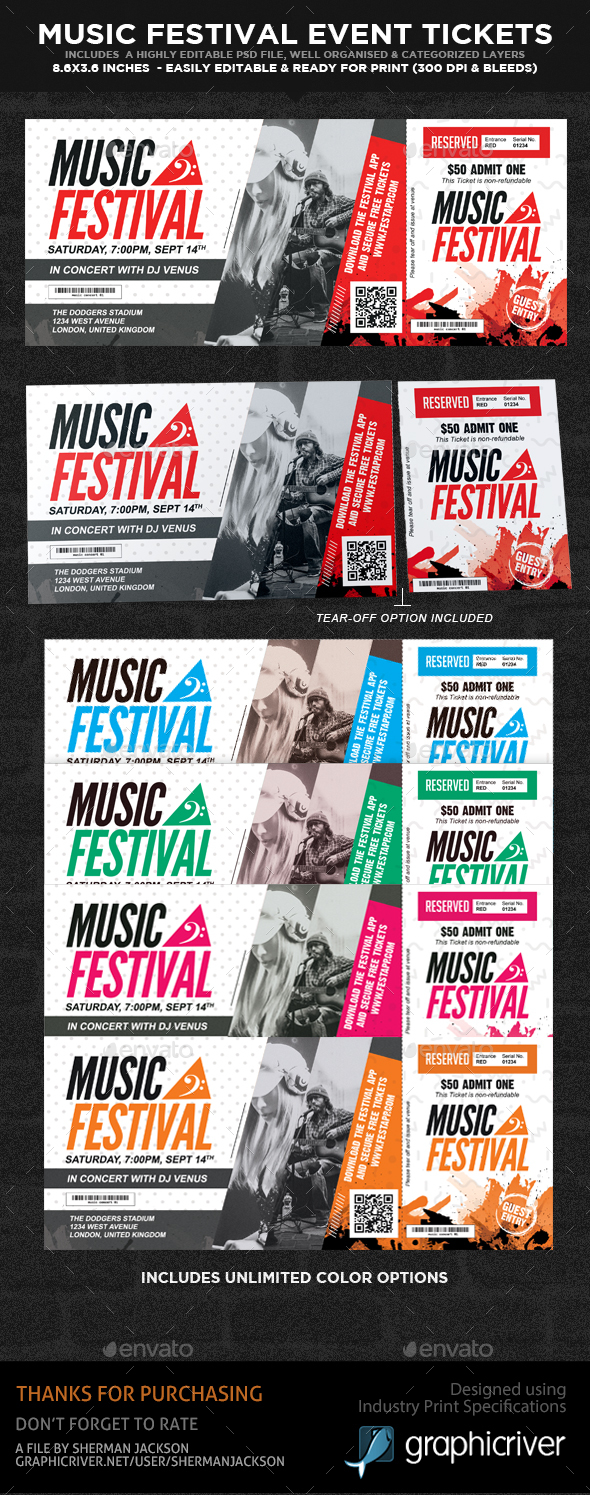 Musical Festival Multipurpose Event Ticket - Miscellaneous Print Templates