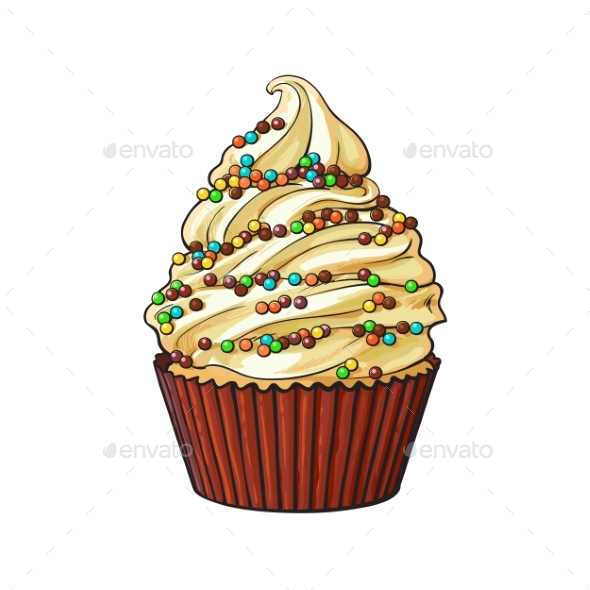 Cupcake with Cream Swirls - Food Objects