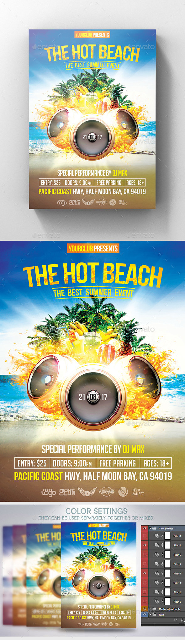 The Hot Beach Flyer - Clubs & Parties Events
