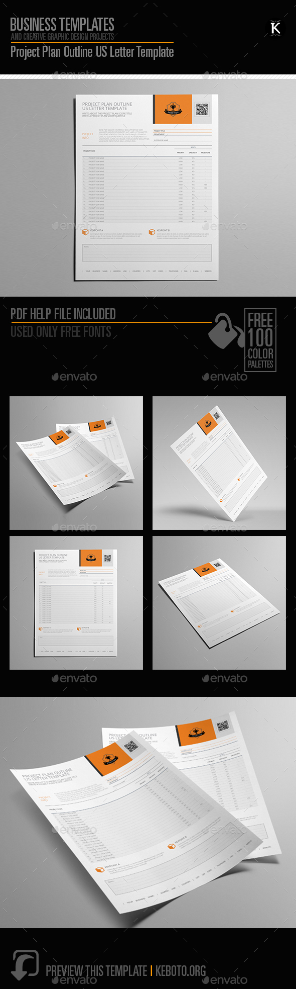 Project Plan Outline US Letter Template - Miscellaneous Print Templates
