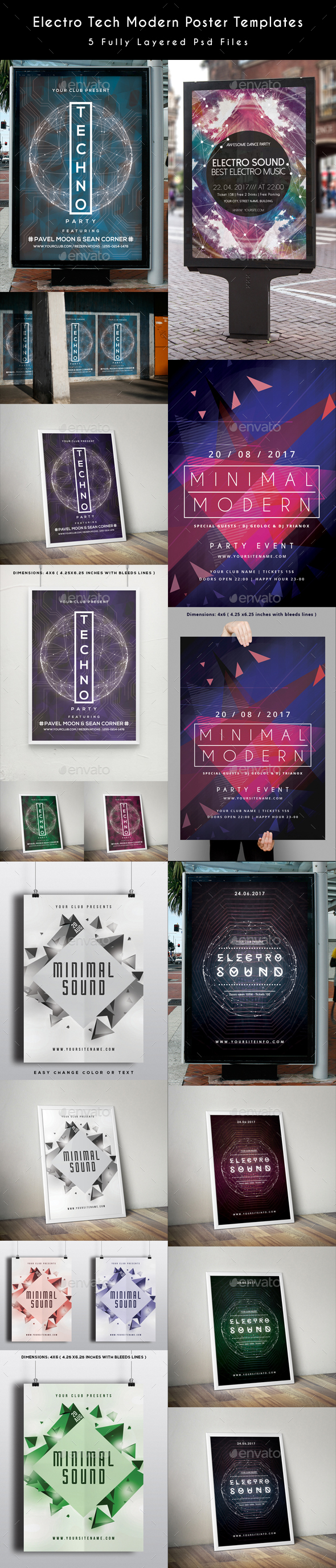 Electro Tech Modern Poster Templates - Clubs & Parties Events