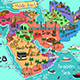 Middle East Countries Map in Cartoon Style