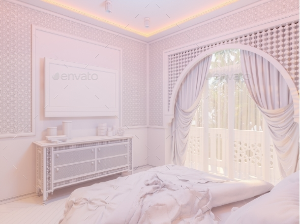 GraphicRiver 3D Render Bedroom Islamic Style Interior Design 20307246