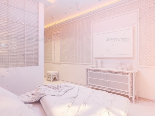 GraphicRiver 3D Render Bedroom Islamic Style Interior Design 20307249
