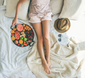 Summer healthy clean eating breakfast in bed concept, square crop