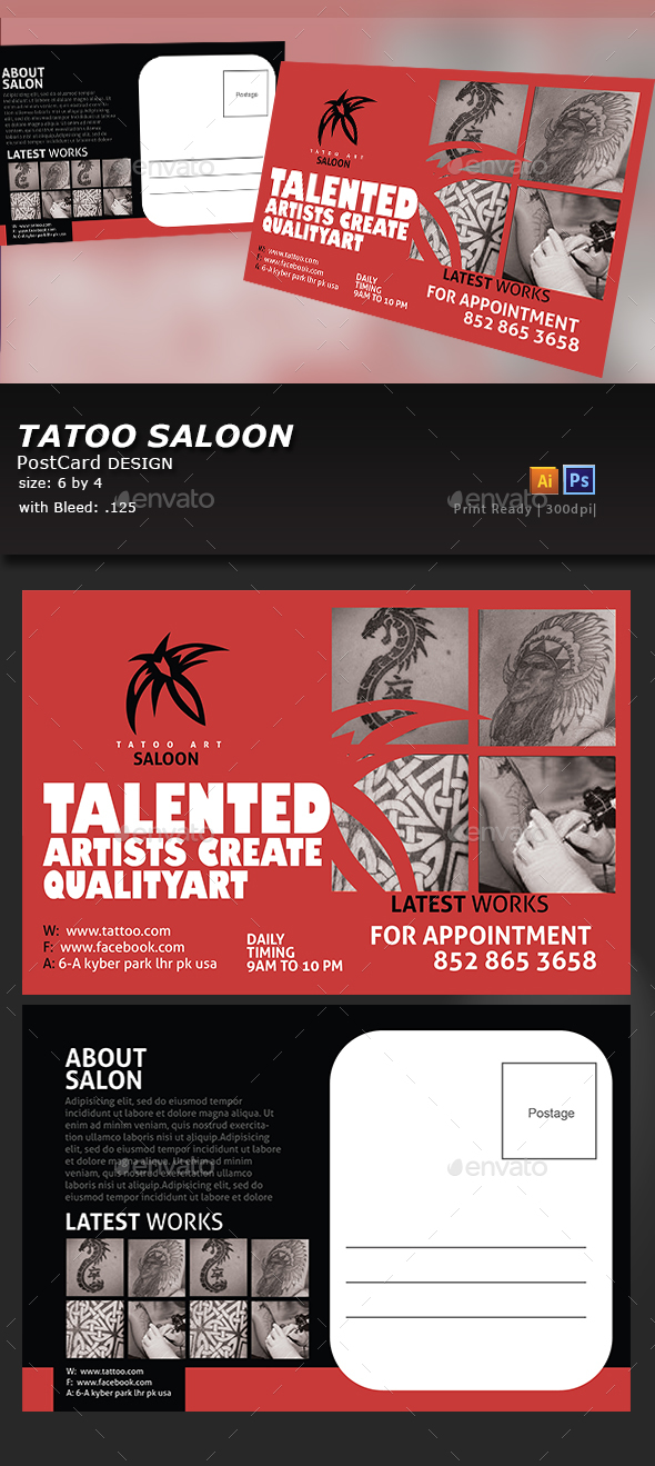 Tattoo Postcard Design - Flyers Print Templates