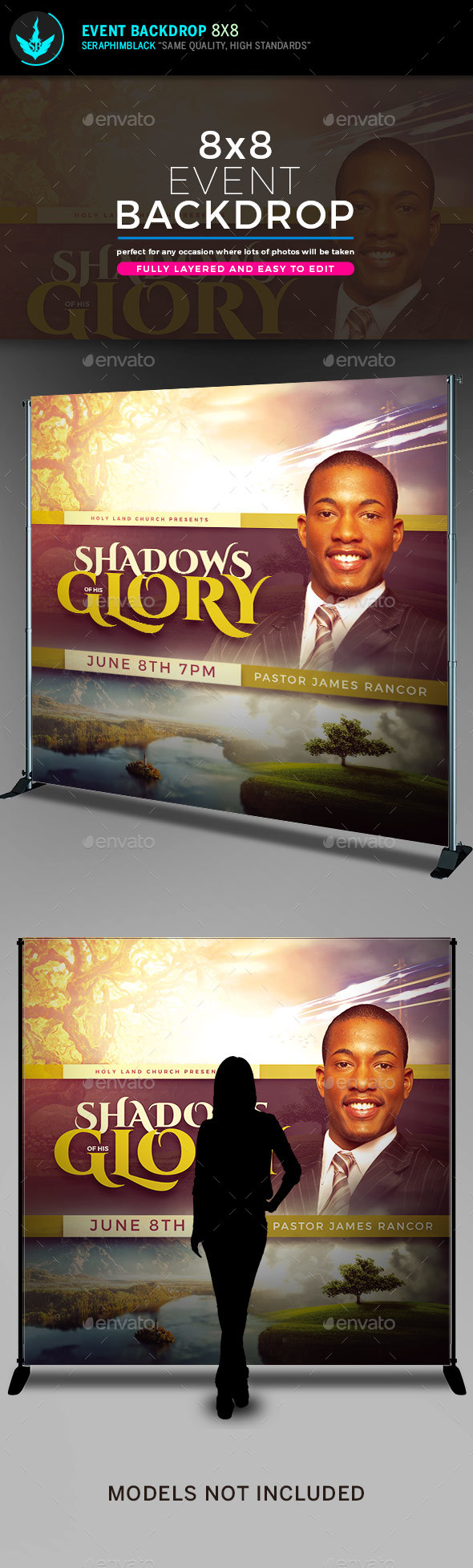 Shadows of His Glory 8x8 Backdrop Template - Signage Print Templates