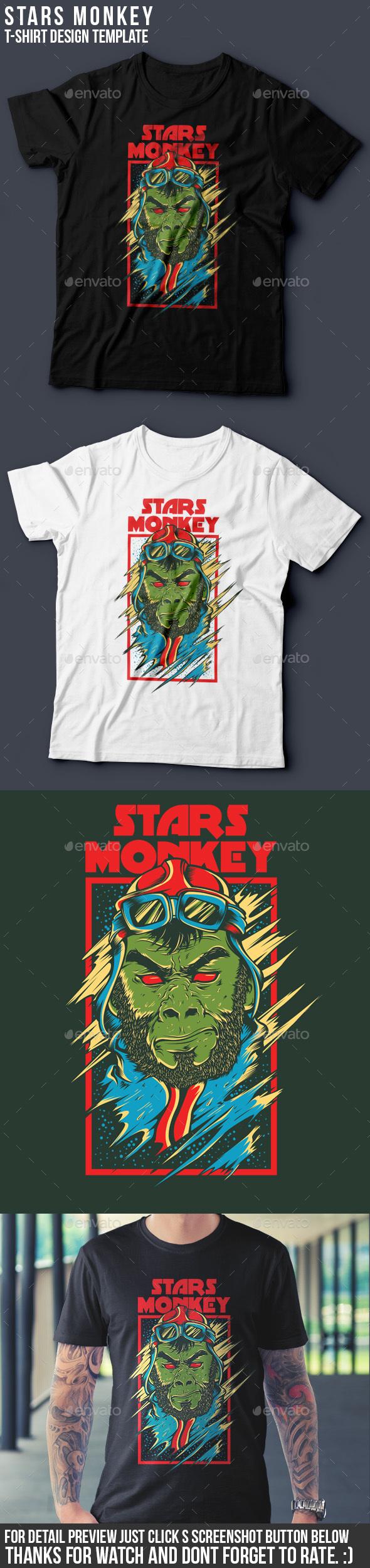 Stars Monkey - Grunge Designs