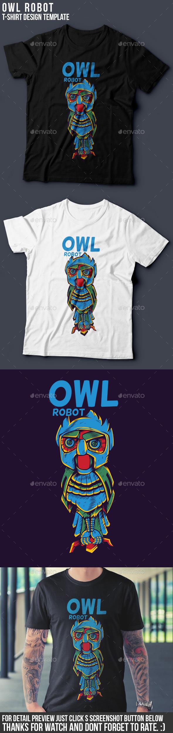 Owl Robot - Grunge Designs